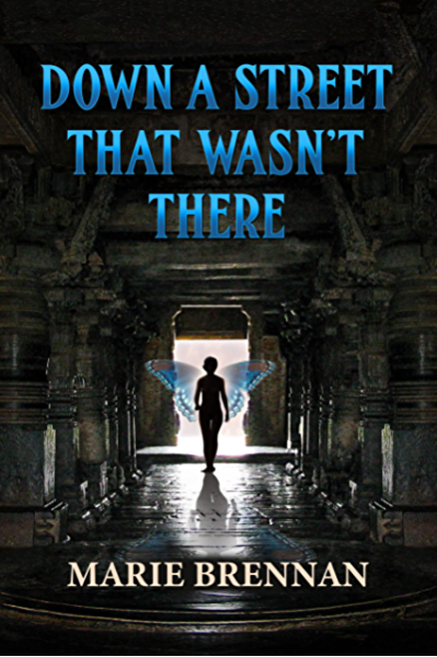 The book cover showing a human figure with butterfly wings walking down a stone corridor.