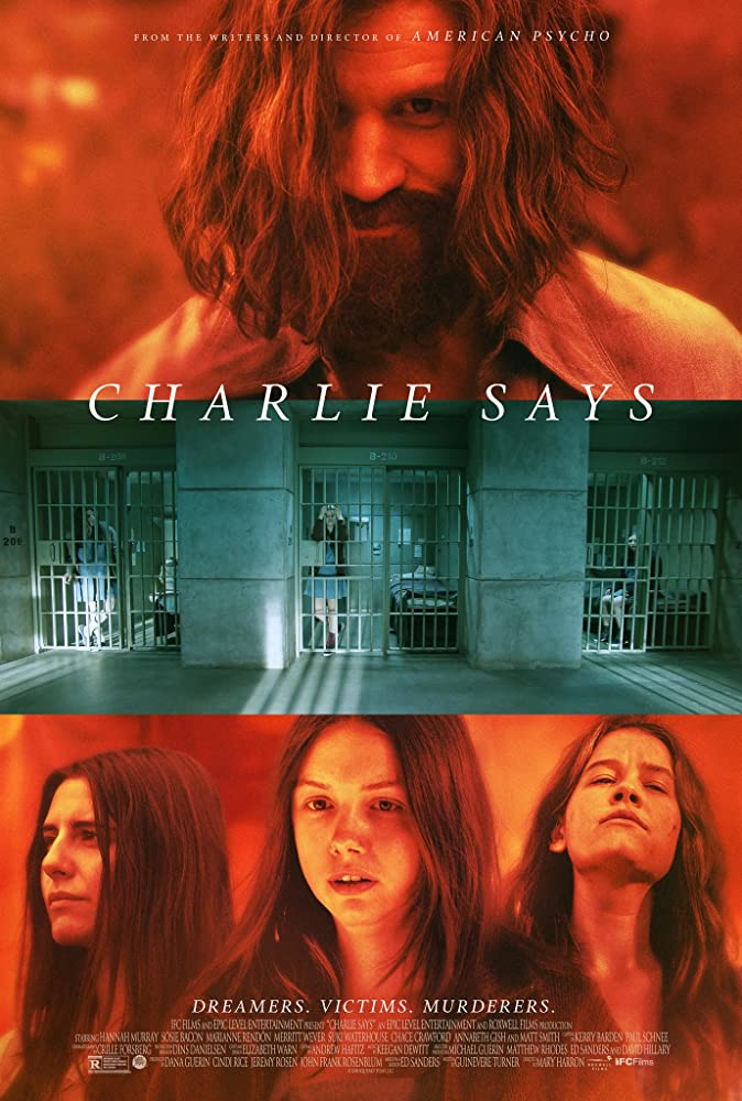 The film poster showing Charles Manson (Matt Smith), three prison cells and Susan 'Sadie' Atkins (Marianne Rendón), Leslie 'Lulu' Van Houten (Hannah Murray) and Patricia 'Katie' Krenwinkel (Sosie Bacon).