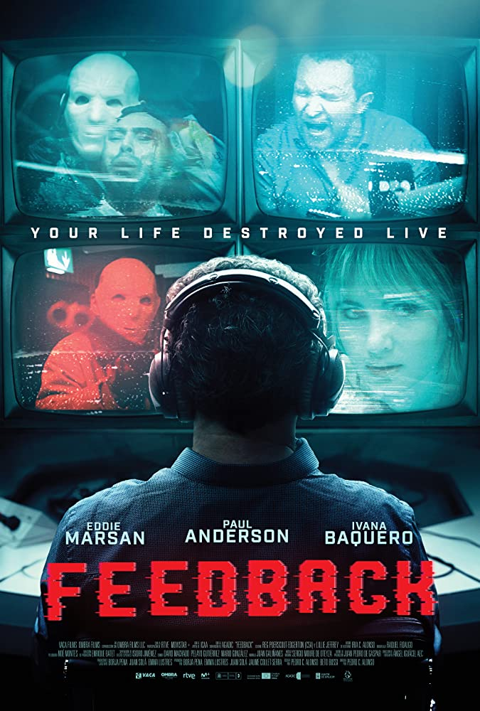 The film poster showing Jarvis (Eddie Marsan) from behind. He is wearing headphones and watching four screens with masked men, a woman and himself screaming.