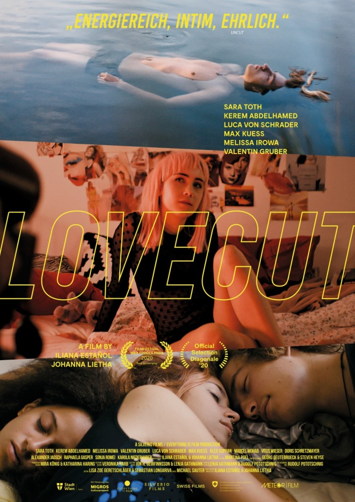 The film poster with three film stills: Ben (Max Kuess) floating in the danube; Anna (Sara Toth) posing for the camera; and Luka (Lou von Schrader) and Ben looking at each other while lying next to sleeping Momo (Melissa Irowa).