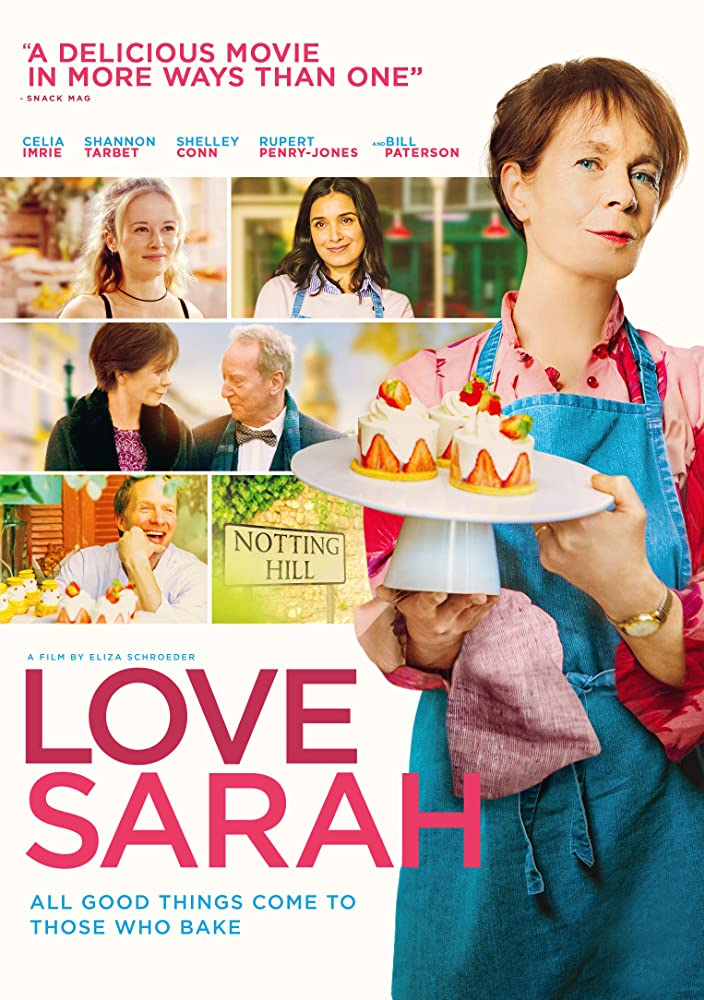The film poster showing Mimi (Celia Imrie) holding up a platter full of cakes in front of a few film stills.