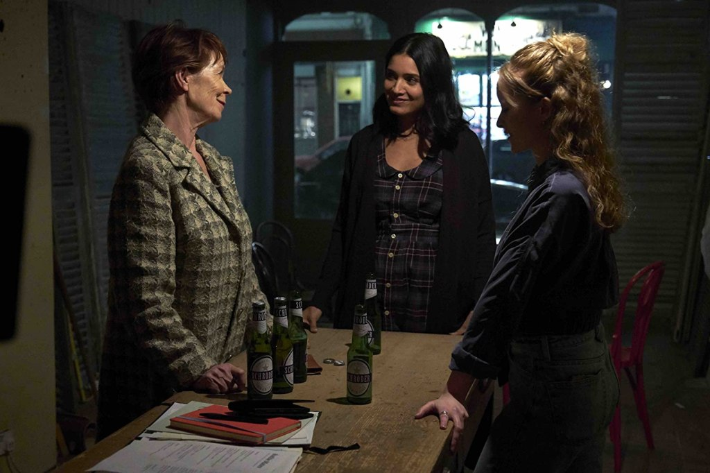 Mimi (Celia Imrie), Isabella (Shelley Conn) and Clarissa (Shannon Tarbet) planning their bakery.