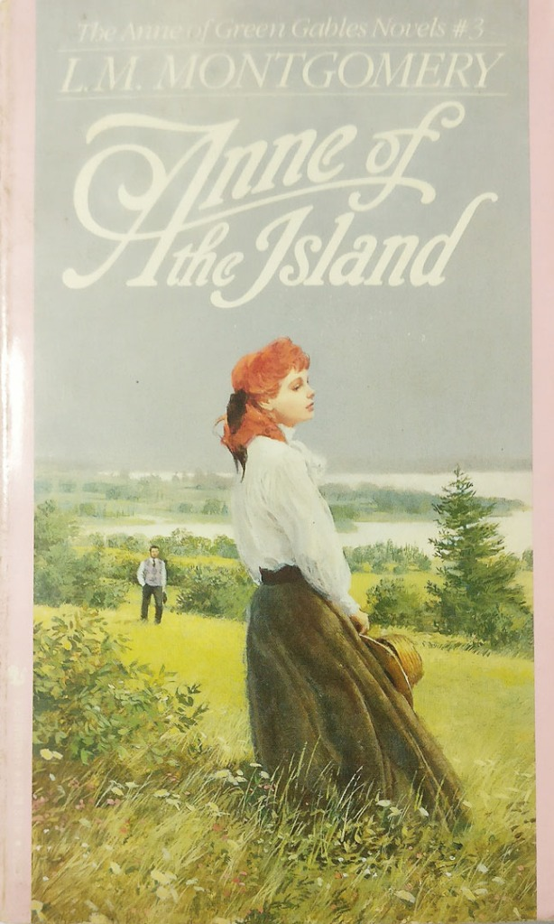 The book cover showing a red-haired young woman standing in a field, a young man approaching her in the distance.