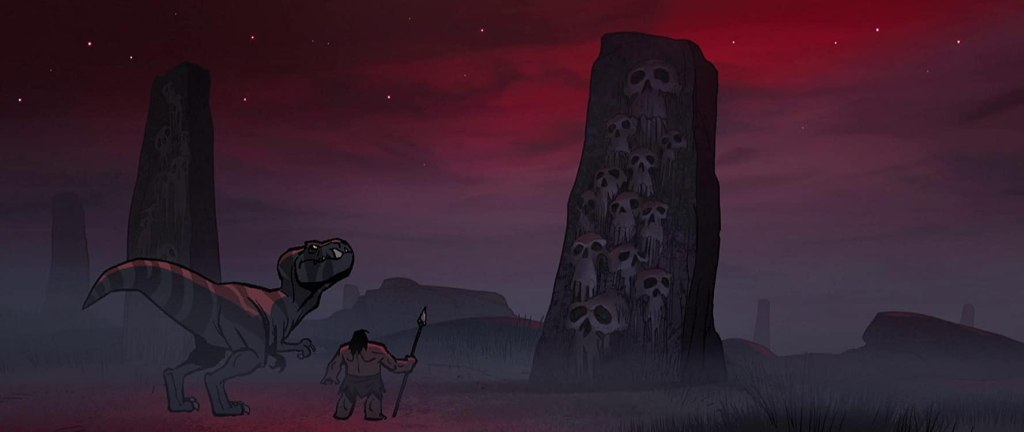 Spear and the T-Rex looking at an obelisk with skulls.
