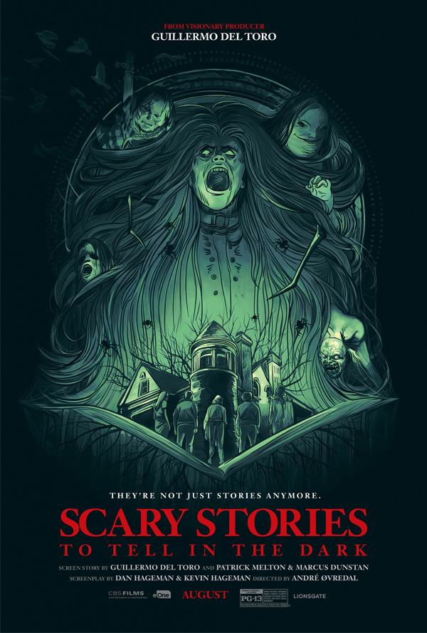 the film poster showing the drawing of a long-haired ghoul with various figures behind it. Below it is a house with four kids in front of it. The house and the kids are standing in an opened book.