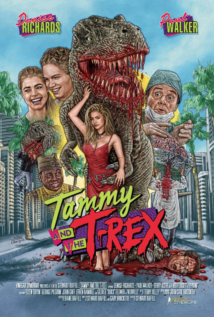 The film poster showing drawings of the main characters and a T-Rex with a bloody mouth.