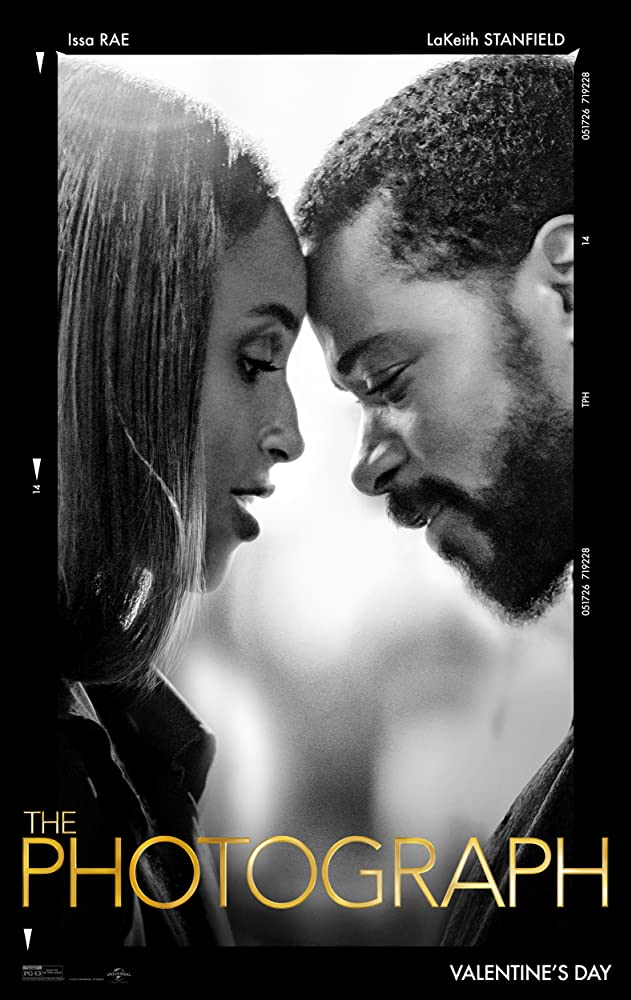 The film poster showing Mae (Isaa Rae) and Michael (LaKeith Stanfield) pressing their foreheads together. The image is black and white.