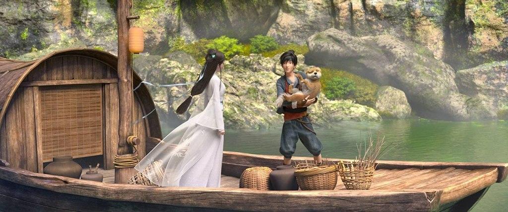 Xiao Bai (Zhe Zhang) with A Xuan (Tianxiang Yang) and his dog Dudou (He Zhang) on his boat.