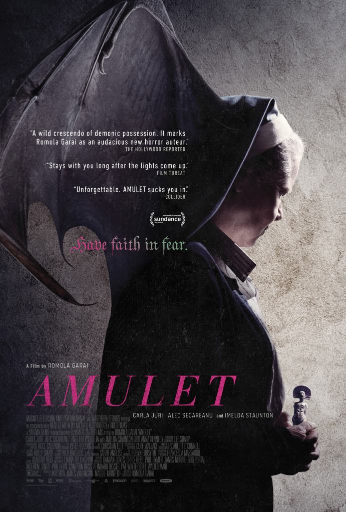 The film poster showing a nun, her habit turning into batlike wings.