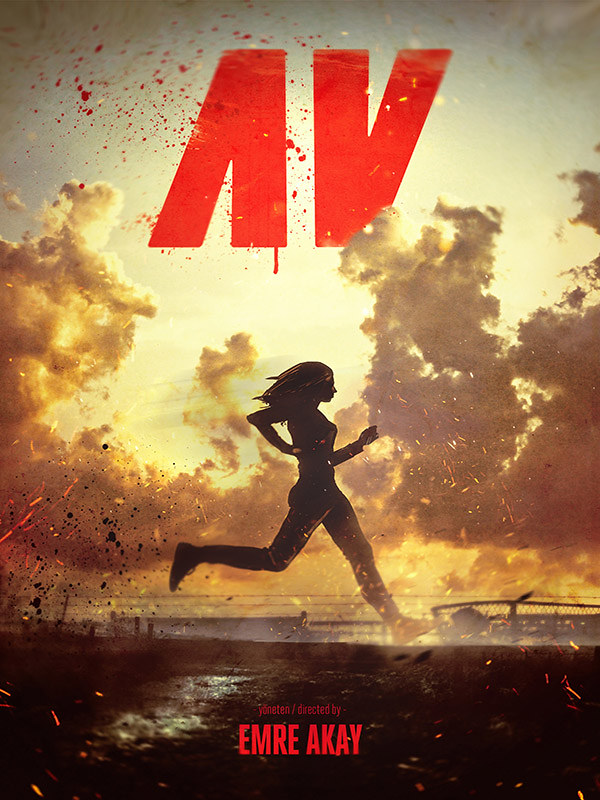 The film poster showing Ayse's (Billur Melis Koç) running silhouette against the sunset.