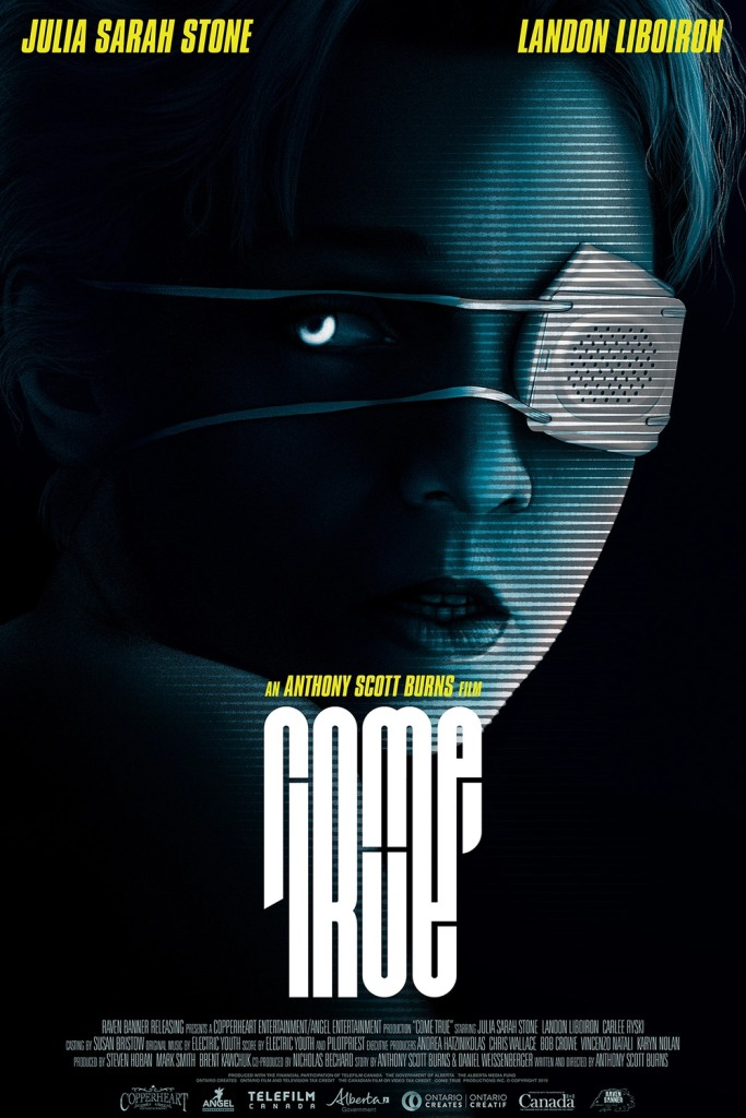 The film poster showing a girl's face, slightly distorted as if on video, one eye covered by an eye patch.