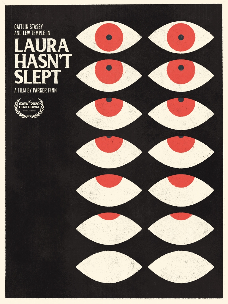 The film poster showing the drawing of 7 pairs of eyes with the pupils rolling progressively more up until only the white is showing.