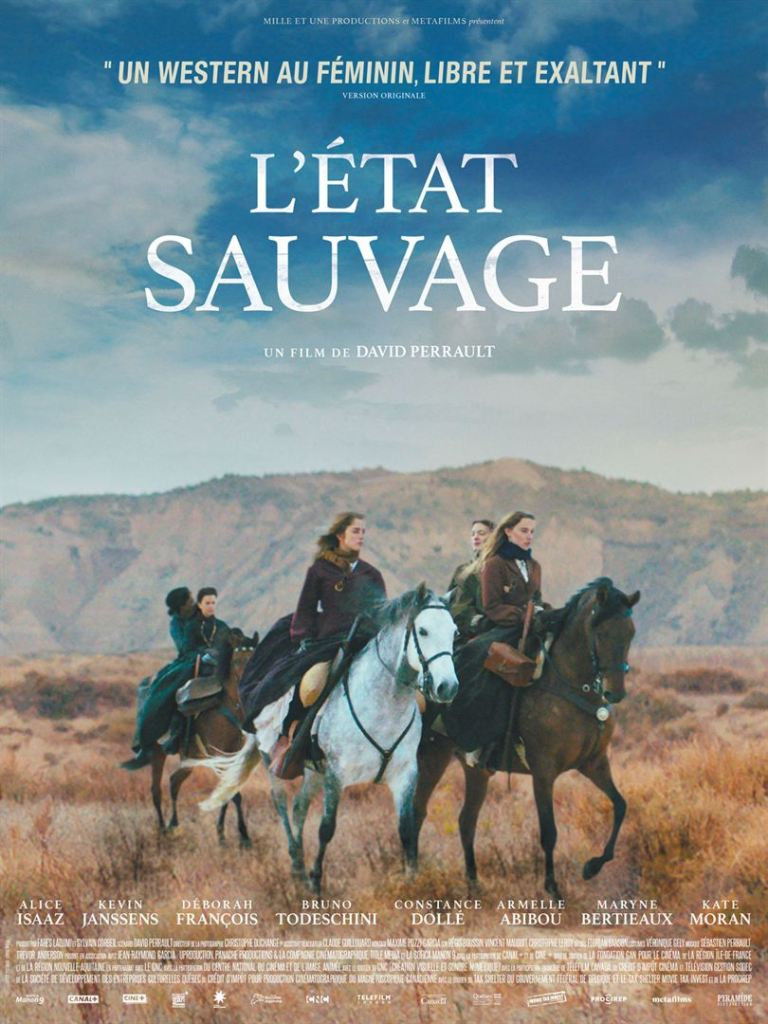 The film poster showing Esther (Alice Isaaz) and her family on horses, riding through the desert.