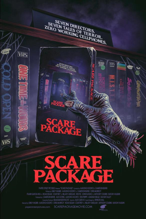 The film poster showing a drawing of a disembodied hand picking out a video tape from a shelf of tapes. The cover of the video tape shows that same hand picking up that same video tape and so on.