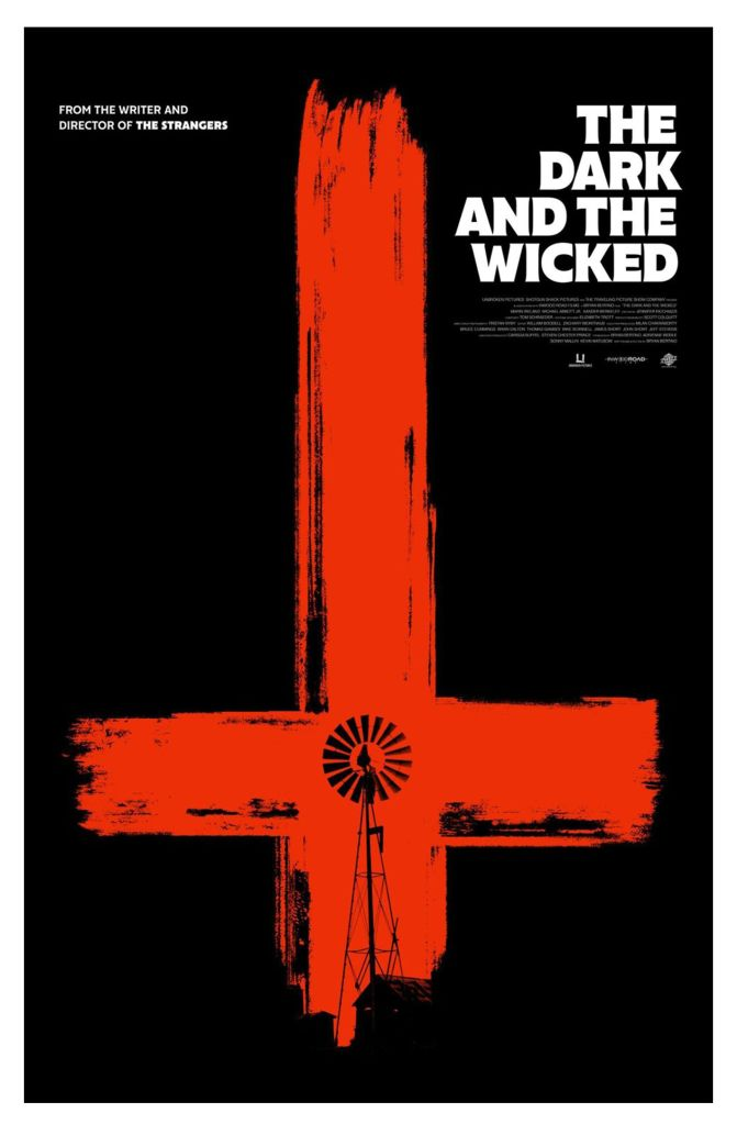The film poster showing an upside down cross in red brushstokes on a black background. A windmill can be seen inside the cross.