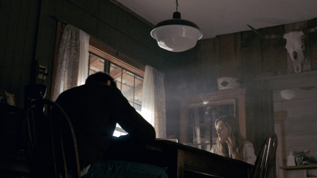 Louise (Marin Ireland) and her brother Michael (Michael Abbott Jr.) sitting at the table.