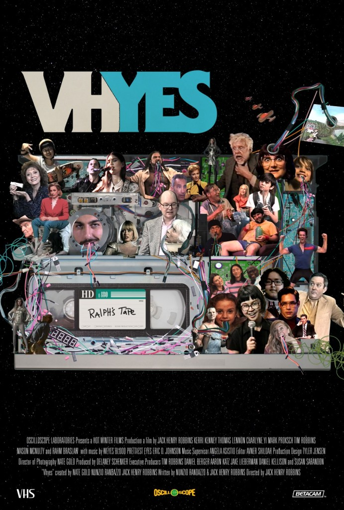 "The film poster showing a VHS tape with ""Ralph's Tape"" written on it, as well as a collage of various film characters."