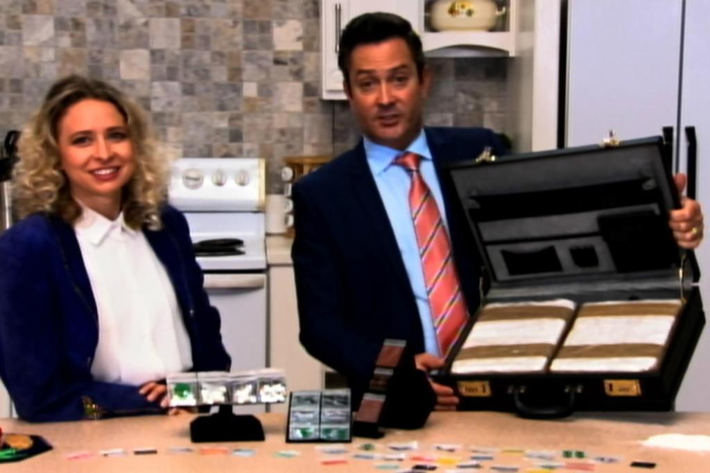Tony V (Thomas Lennon) and Cindy (Courtney Pauroso) selling what looks supsiciously like drugs on the shopping channel.