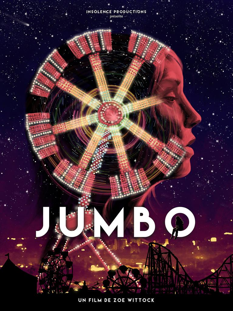 The film poster showing a woman's face in profile, the back of her head a ferris wheel.