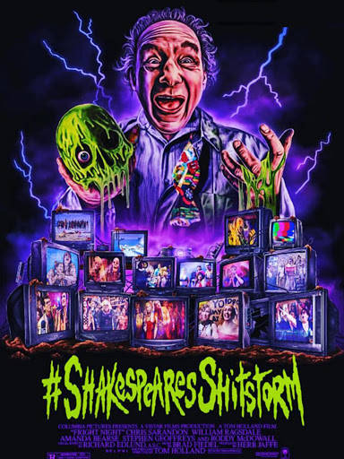 The film poster showing a drawing of Prospero (Lloyd Kaufman) holding a skull in his hand that is running with green goo. There are several TV screens showing stills from the film.