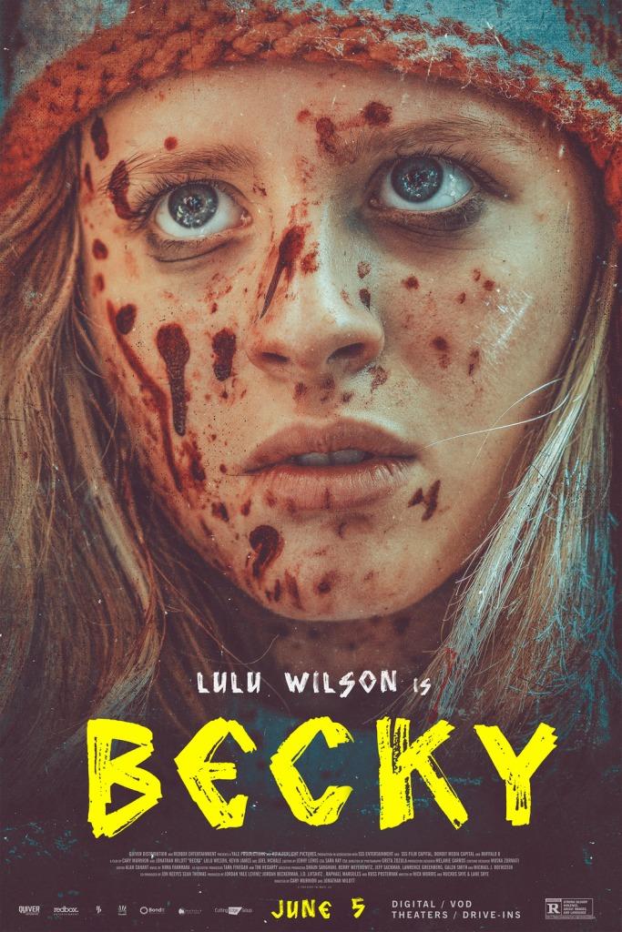 The film poster showing Becky (Lulu Wilson), blood splatter all over her face.