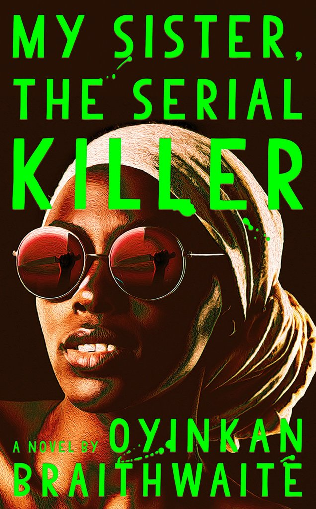 The book cover showing the face of a black woman wearing a headscarf and sunglasses. The sunglasses are red and you can see a raised hand with a knife reflected in them.