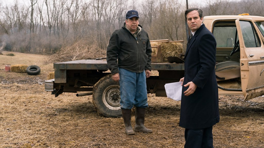 Rob Bilott (Mark Ruffalo) talks to farmer Wilbur Tennant  (Bill Camp) who brought the case to his attention.