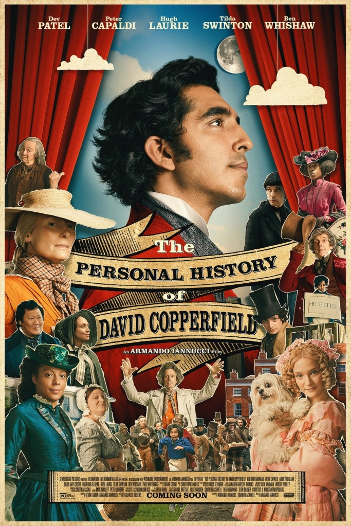 The film poster showing a colorful collage of the characters of the film, with David Copperfield (Dev Patel) taking center stage, between red curtains.