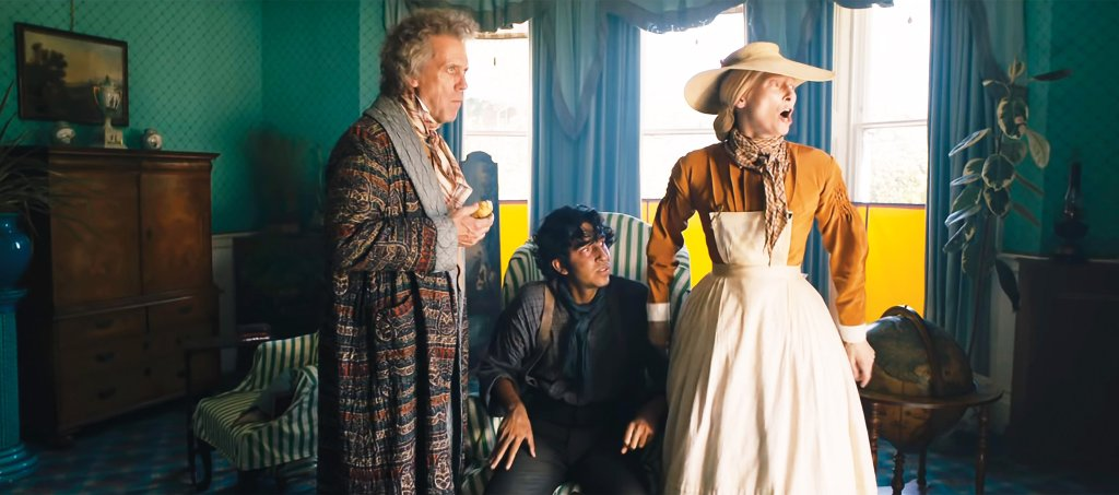 David (Dev Patel) arrived at his aunt Betsy Trotwood's (Tilda Swinton) place where she lives with Mr Dick (Hugh Laurie). But she doesn't pay him much attention because she is busy screaming at donkeys.