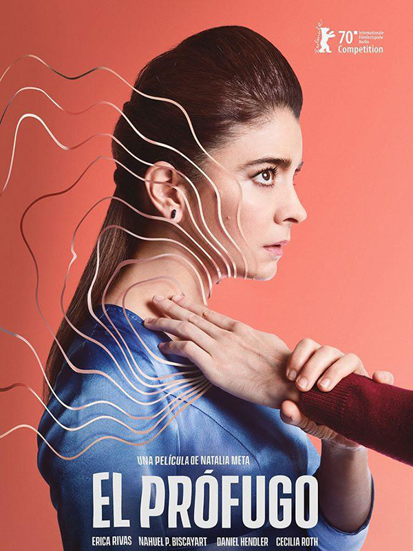 The film poster showing Inés (Erica Rivas) with another person's hand going for her throat. Waves emanate from where the hand touches the throat.
