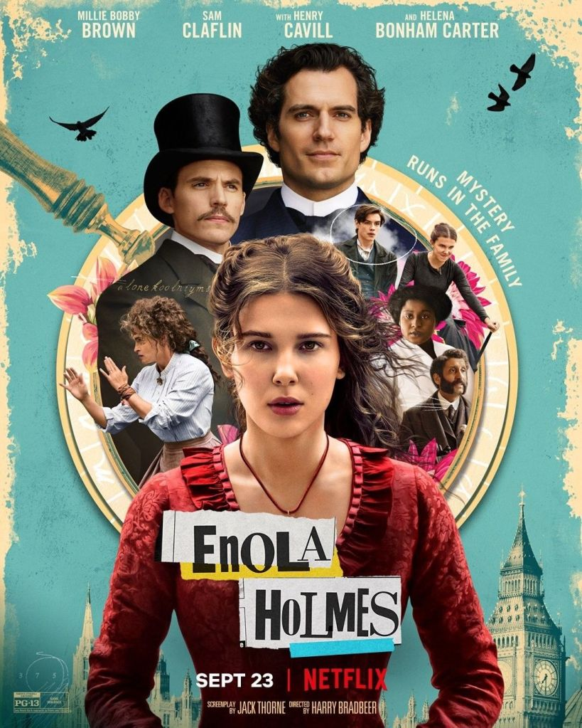 The film poster showing Enola Holmes (Millie Bobby Brown) in a red dress. Behind her is a magnifying glass and in that glass are the other main characters of the film.