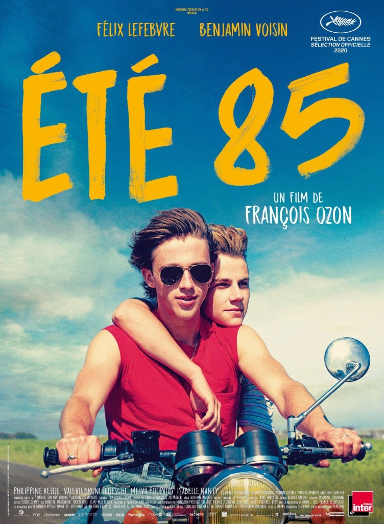 The film poster showing David (Benjamin Voisin) and Alexis (Félix Lefebvre) on a motorcycle together.