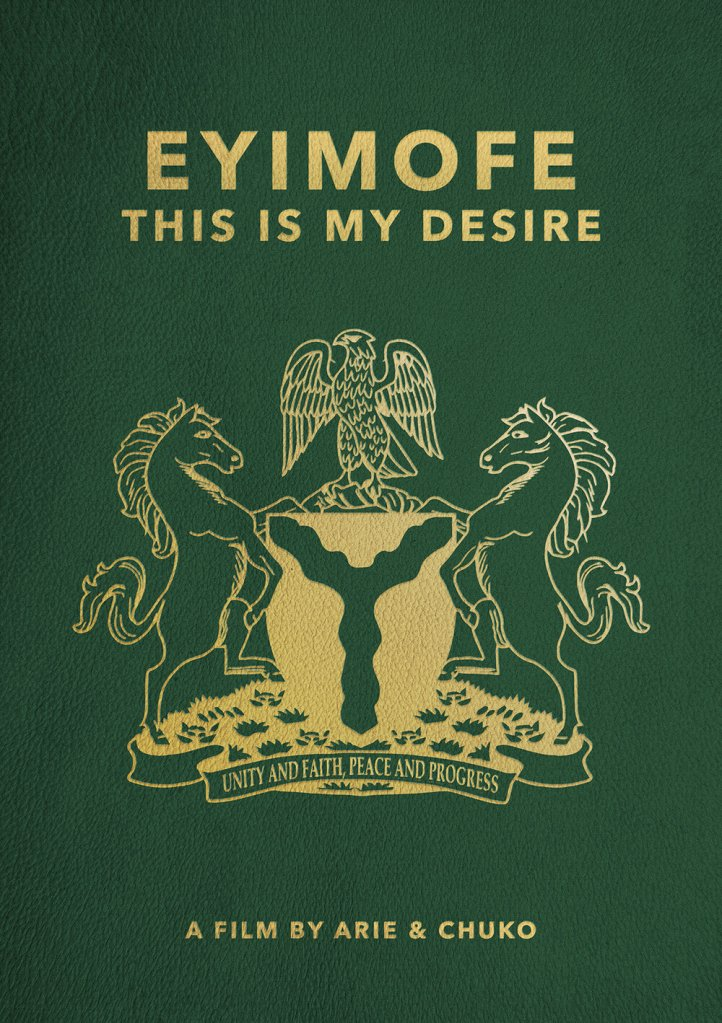 The film poster looking like a passport cover.