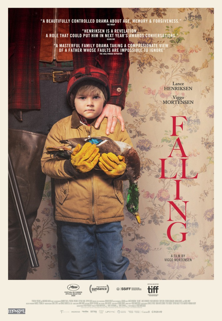 The film poster showing a boy cradling a dead duck. A man is standing behind him with his hand on the boy's shoulder. They are standing in front of a flowery wallpaper.