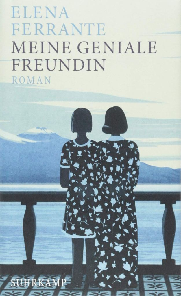 The book cover showing to girls from behind. They are looking from a balcony over the sea. They are wearing two dresses from the same cloth, so you can't tell where one ends and the other begins.