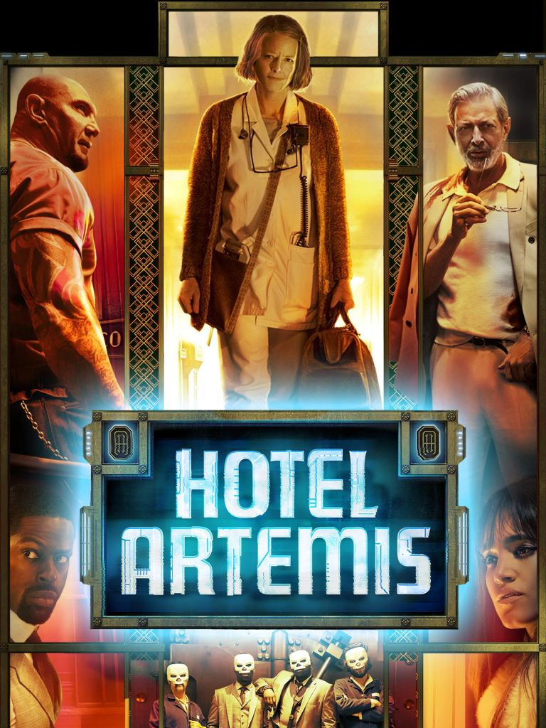 The film poster showing the main characters of the film with art deco ornaments around them.