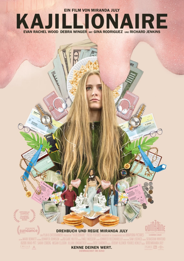 The film poster showing Old Dolio (Evan Rachel Wood) surrounded by a lot of stuff, all in front of a pink background.