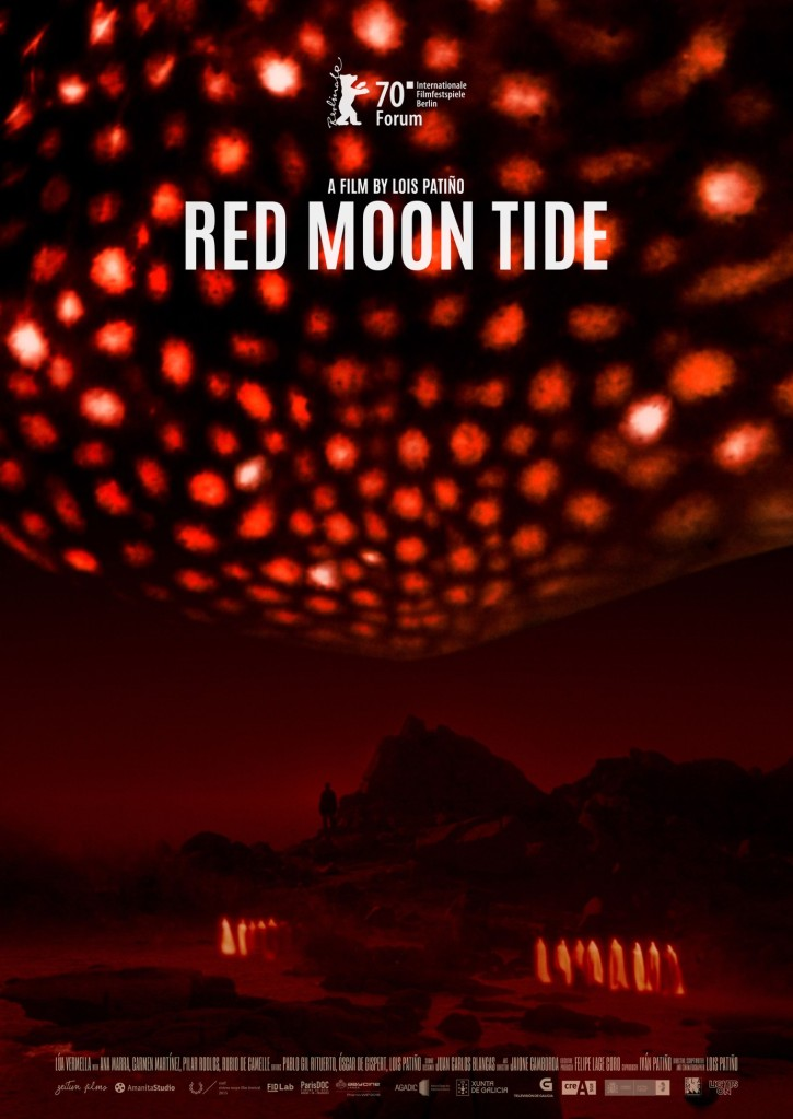 The film poster showing a huge red glowing blob over a landscape in red light, with a few figures in white sheets like ghosts.