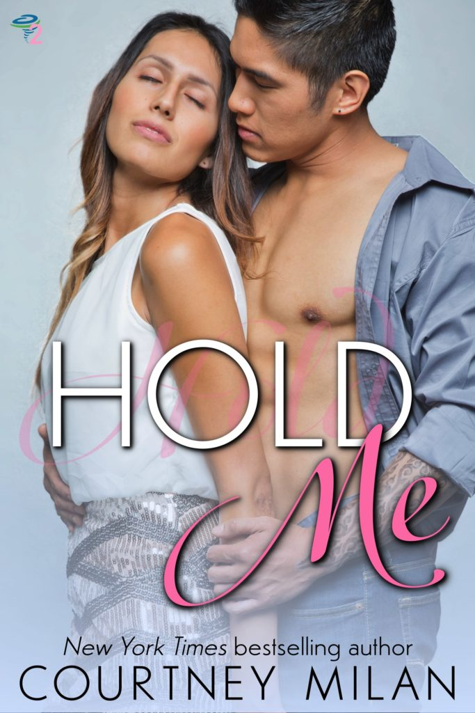 The book cover showing an Asian man with a tattooed arm and an open shirt hugging a latina from behind.