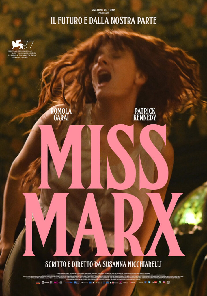 The film poster showing Eleanor Marx (Romola Garai), blurred because she is moving, her hair wild.