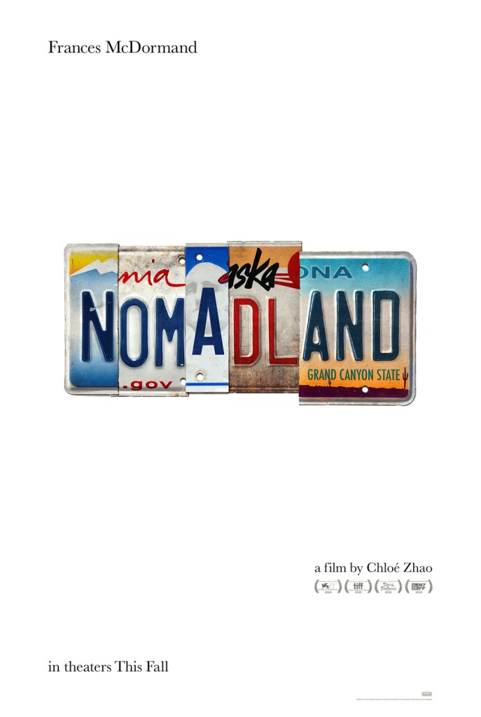 The film poster showing the word NOMADLAND made up from five different licence plates.