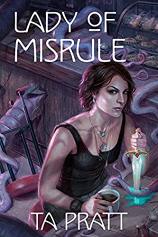 The book cover showing the drawing of a grumpy looking brunette in a tank top. She's having a coffee at a bar, but there are tentacles everywhere. She has speared one of the tentacles in front of her with a dagger.