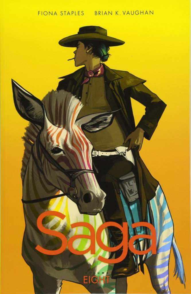 The comic cover showing a woman in a cowboy outfit riding a zebra with rainbow-colored stripes.