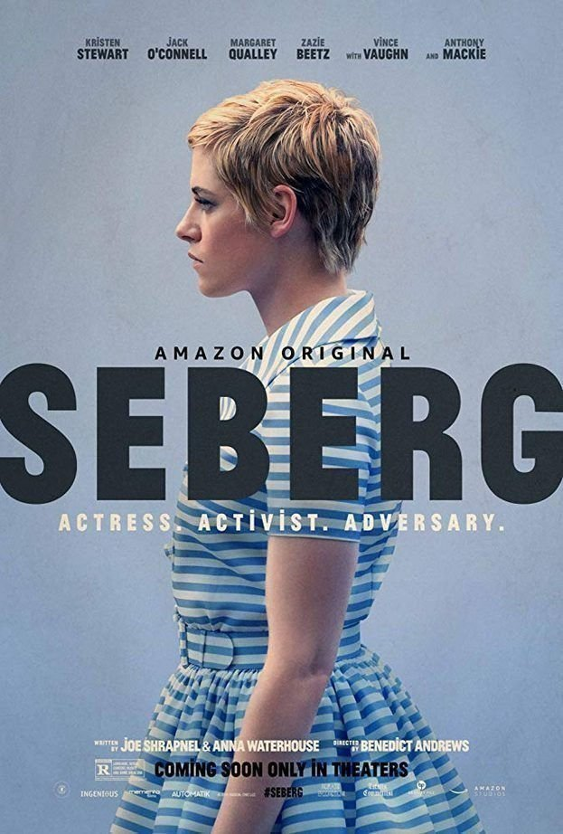 The poster showing Jean Seberg (Kristen Stewart) in profile, wearing a striped dress.