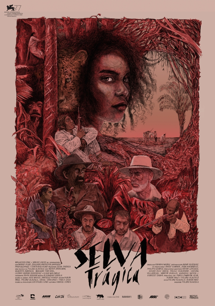 THe film poster showing drawings of the main characters in a forest that is entirely painted in red.
