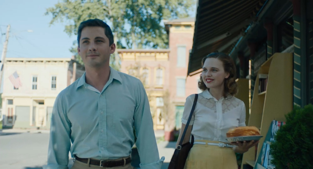 Fred (Logan Lerman) and Rose (Odessa Young) on their way to Professor Hyman's home.