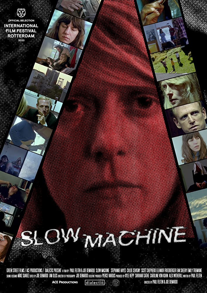 The film poster showing Stephanie (Stephanie Hayes) in a close up, with various stills arranged as if on physical film around her face.