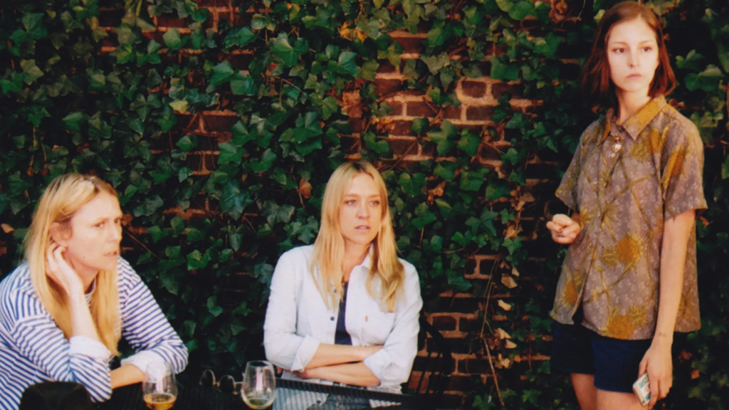 Stephanie (Stephanie Hayes) talking to Chloë (Chloë Sevigny) in a cafe, with a fan standing close-by.