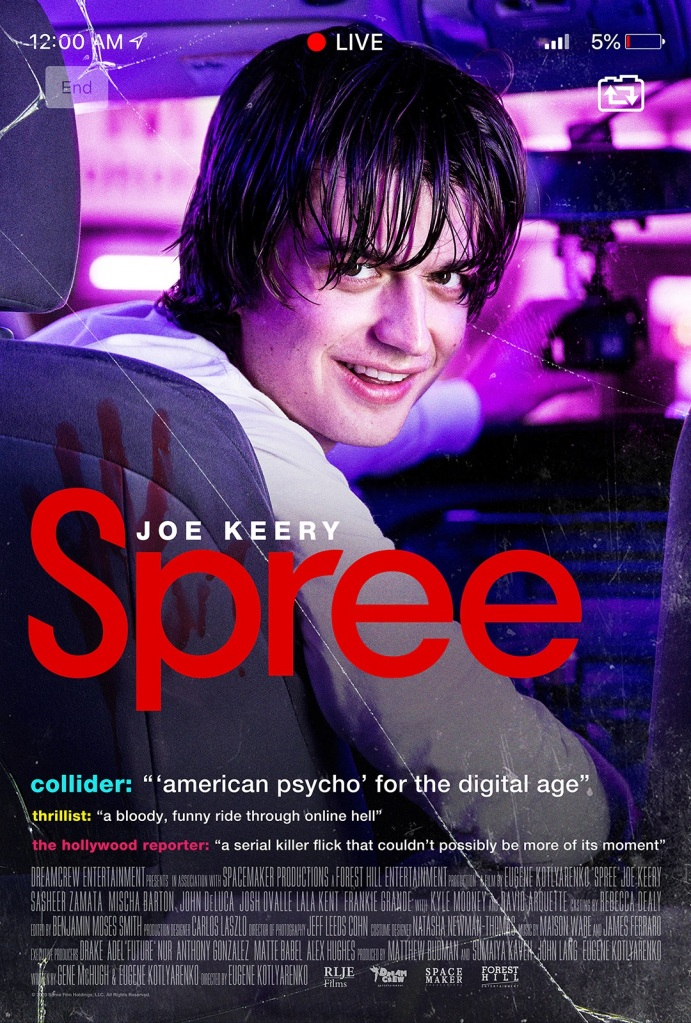 The film poster showing Kurt in the driver seat of his car, looking towards the backseat. A bloody handprint can be seen on the back of the seat.