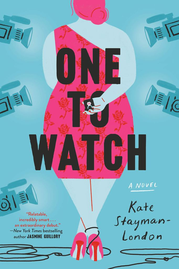 The book cover showing the drawing of a fat woman from behind. She is wearing a fashionable pink dress with roses. Her hair is also pink. She has one hand behind her back holding a ring. Five movie cameras are pointed at her from all directions.